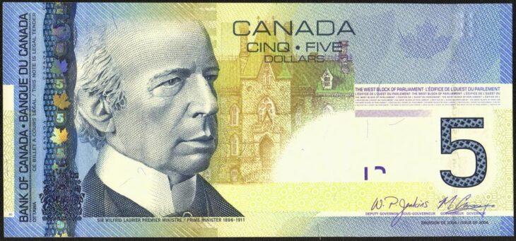5 канадских долларов