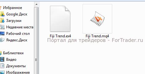Рис. 2. Распакованные из архива файлы индикатора.