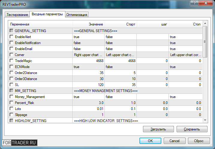 Рис. 3. Параметры советника REV Trader Pro (частично).