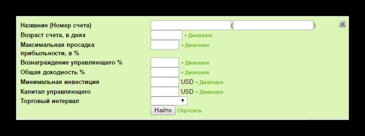 Собственный фильтр ПАММ рейтинга