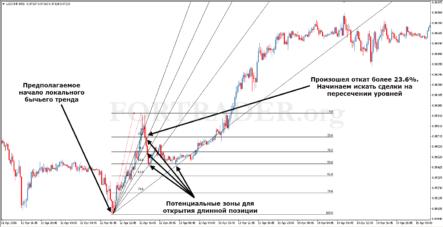 Торговая стратегия Double Fibonacci на базе сетки и веера Фибоначчи