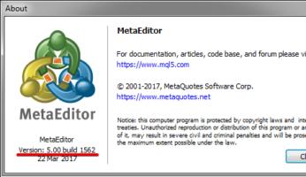 Обновляем metaEditor до нужного билда.