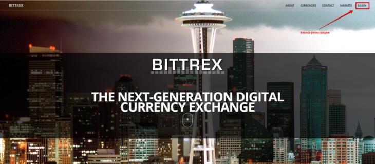 Сайт криптобиржи Bittrex