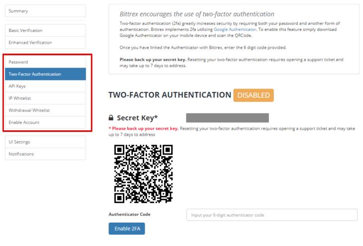 Безопасность аккаунта на криптобирже Bittrex