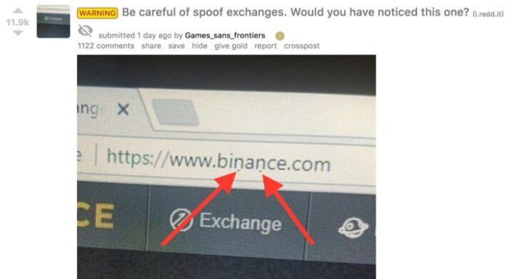 Как может выглядеть поддельный сайт криптобиржи. Фото пользователя evantbyrne, Reddit.