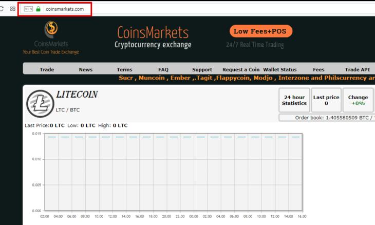 Поддельный сайт обменника CoinsMarkets